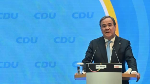 Le centriste Armin Laschet, qui a remporté l'investiture à la succession d'Angela Merkel après un combat acharné, le 20 avril 2021 au siège de la CDU à Berlin