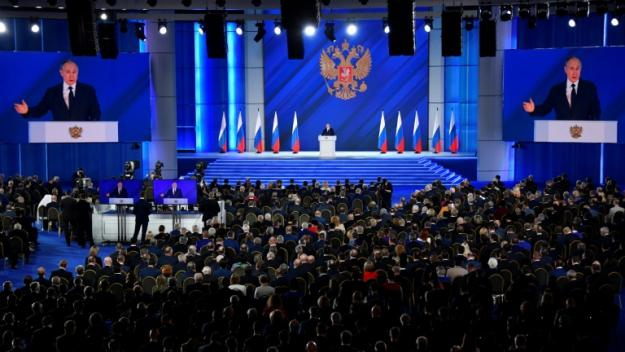 Le président russe Vladimir Poutine lors de son discours annuel, le 21 avril 2021 à Moscou