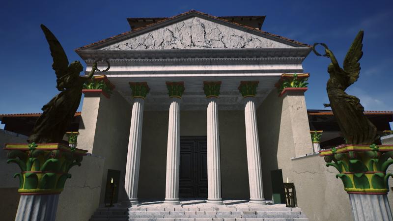 Le temple de Briga est restitué dans le film «Briga, la ville oubliée» de David Geoffroy (2020, Court-jus Production - Gilles Saubestre, Paul Dormont, Nicolas Cayré ; conseillers scientifiques, Étienne Mantel et Jonas Parétias)