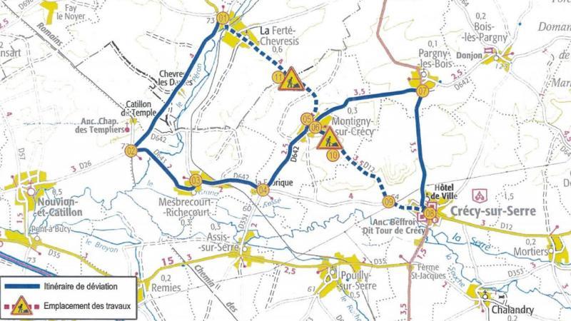 Ce plan indique quel chemin emprunter pour contourner l'interdiction de circuler pendant les travaux.