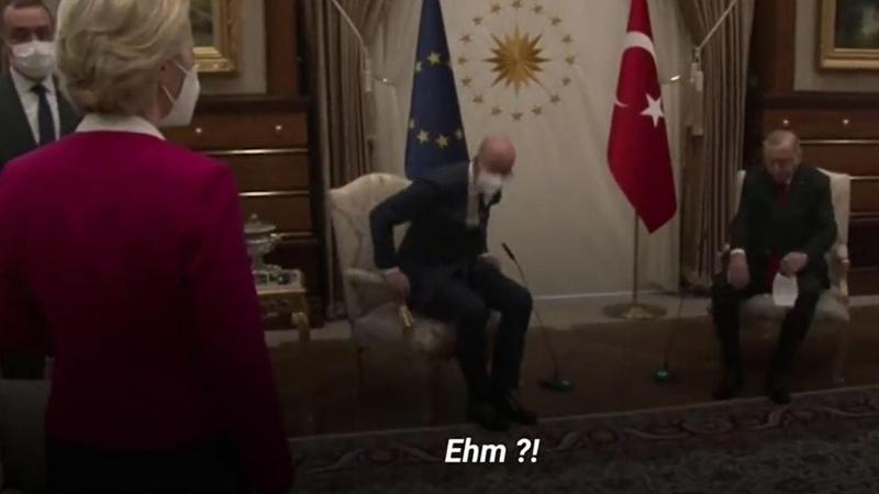 Ursula von der Leyen s'est retrouvée sans chaise pour une discussion de «réchauffement des relations» entre l'Europe et la Turquie...