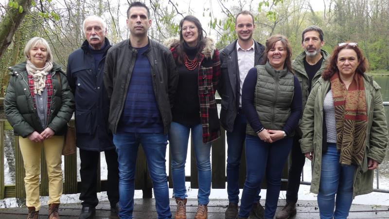 Les candidats de l'union de la Gauche dans les cantons Abbeville 1 et 2 : Christine Hurtrel (2), Denis Courtois (2), Aurélien Coupel (2), Mélanie Rocroy (2), Angelo Tonolli (1), Julie Vast (1), Jean-Luc Massalon (1) et Myriam Le Neuder (1).