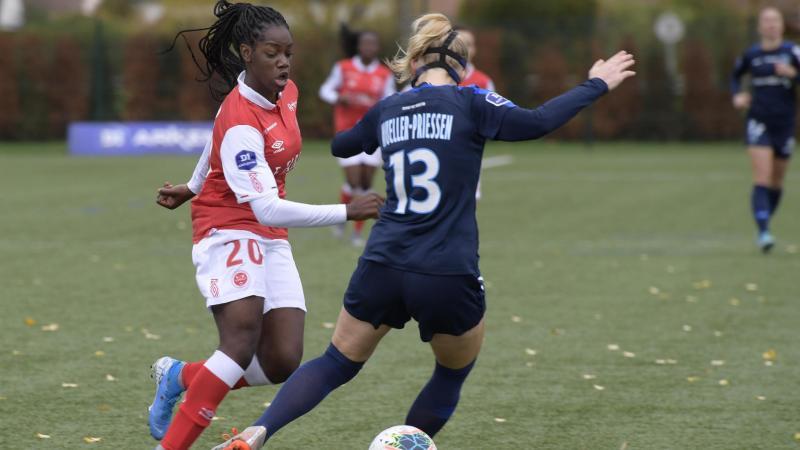 Cette saison, Naomie Feller n'a pu porter le maillot du Stade de Reims qu'à l'occasion de matches amicaux. (Photo L'UNION)