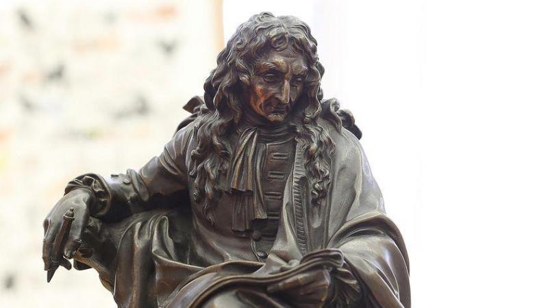 Réduction en bronze du portrait de Jean de La Fontaine d'après Pierre Julien