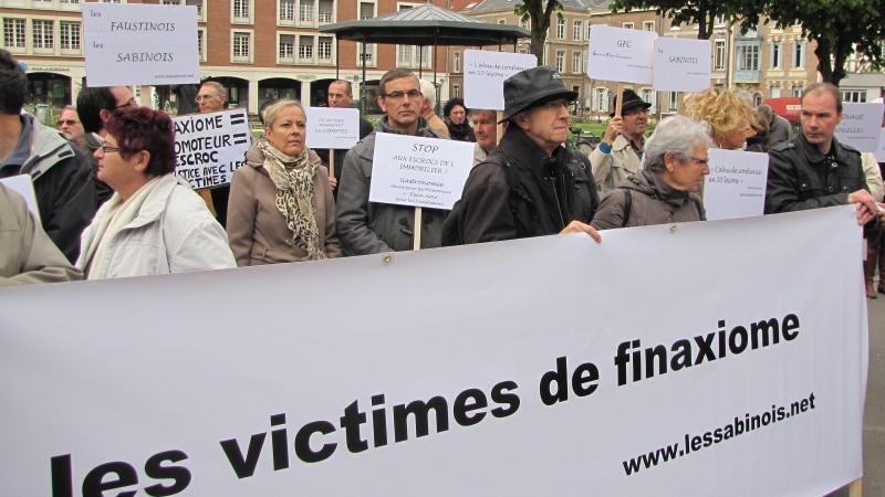 En 2014 déjà, des victimes de Finaxiome manifestaient devant le Palais de justice d'Amiens.