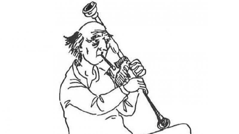Le joueur de pipasso, dessin de Jacques Guignet, 1976.