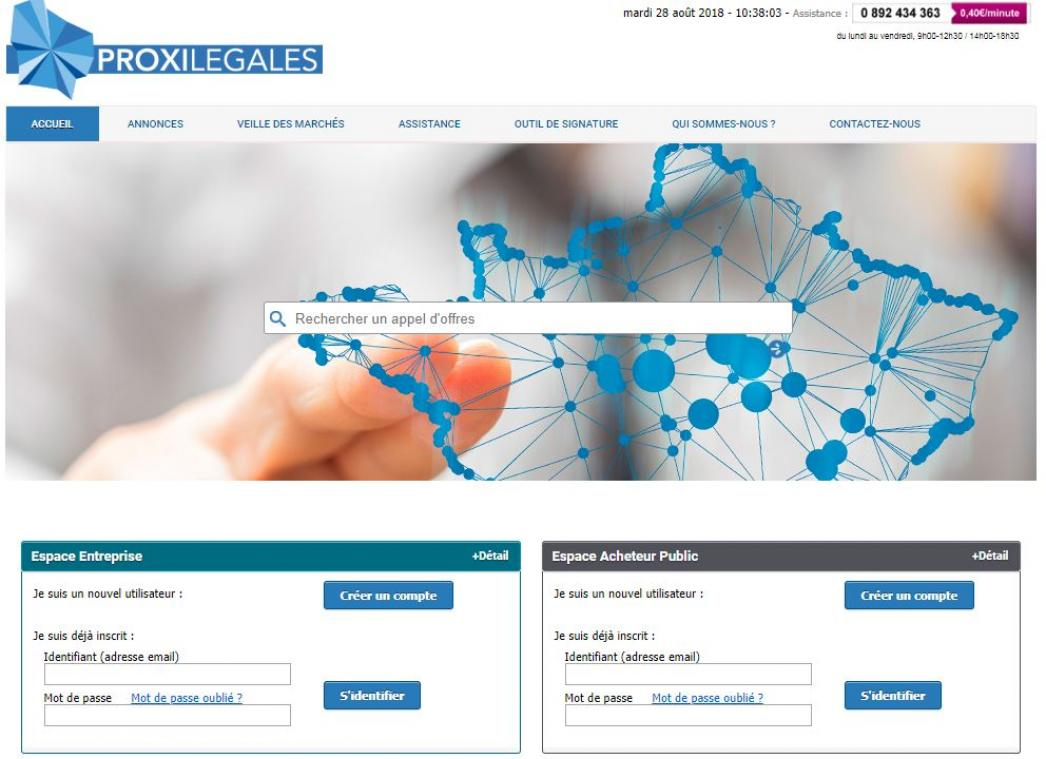 """Dématérialisez vos marchés publics sur <a href=""""http://www.proxilegales.fr"""">www.proxilegales.fr</a>"""