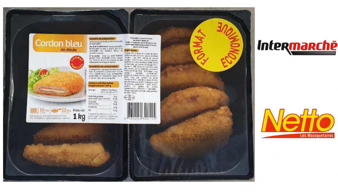 Des salmonelles dans des cordons-bleus vendus chez Netto et Intermarché