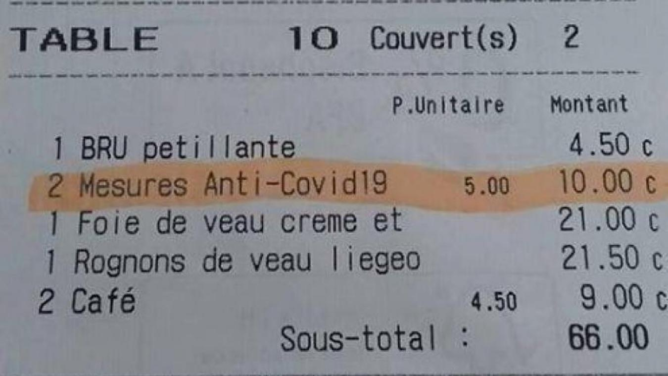 Un restaurant belge facture 5 euros la mesure anti-Covid 19 — Coronavirus