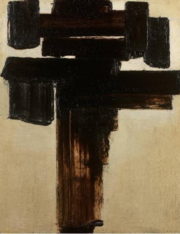 Pierre Soulages : Peinture 81 x 60 cm, 3 décembre 1956; Huile sur toile, signée en bas à droite resignée, datée 12-56-1-57 au dos 81 x 60 cm. (Crédit photo : @ Caen Enchères)