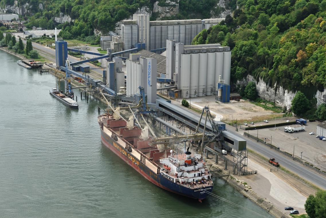 Le groupe Soufflet est présent dans le port de Rouen, notamment rive droite à Canteleu, où des travaux d'accès maritimes sont engagés. (Photo d'archives PN)