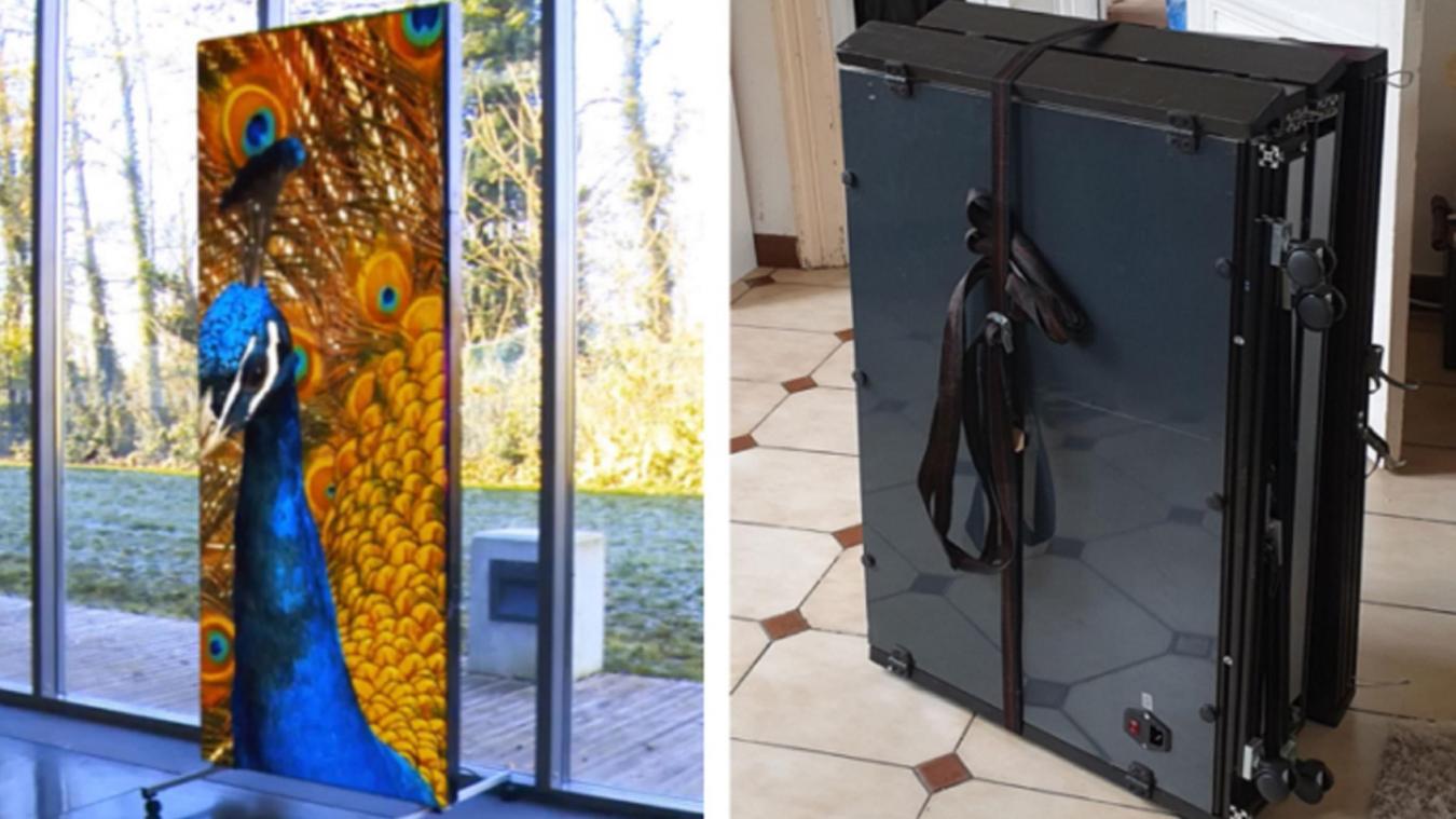 Chaque kakémono mesure 80 centimètres de large sur 2,5 mètres de haut et peut être assemblé avec d'autres panneaux pour former un écran géant.