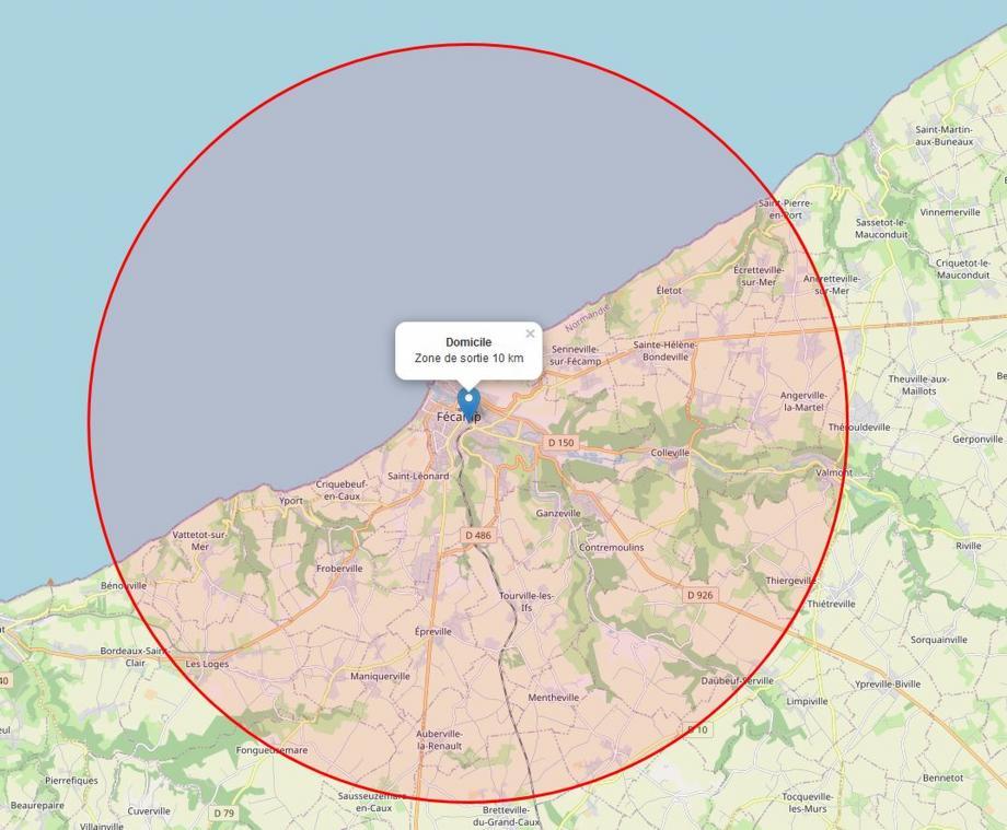Si la moitié du cercle des 10 km est remplie de bleu, il reste de belles promenades à réaliser au cœur de la seconde moitié. (Capture d'écran)