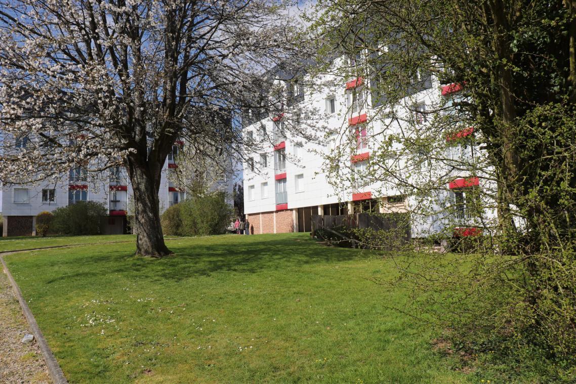 La résidence « Fief de Caux » est composée de trois bâtiments : Bleuets (en face), Coquelicots (à droite) et Œillets (bâtiment en léger contrebas invisible sur cette photo ) disposés autour d'une cour enherbée en butte. (Photos PN)