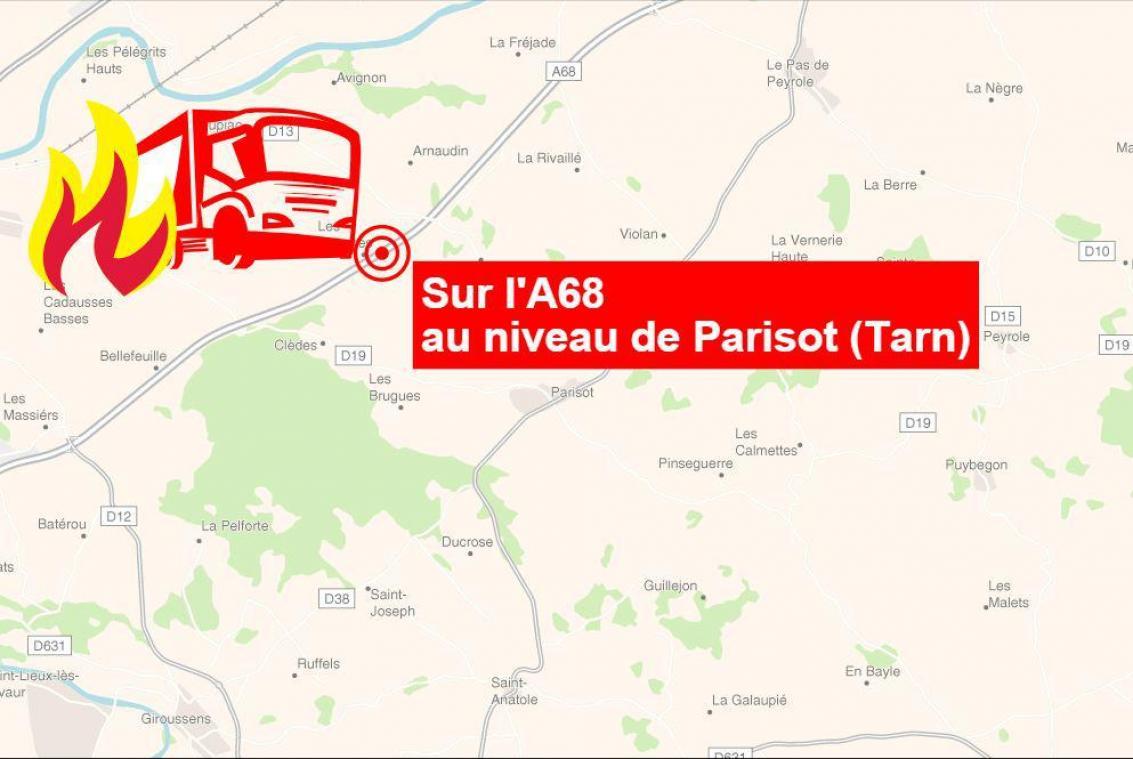 L'incendie s'est déclaré sur l'autoroute entre Toulouse et Albi.