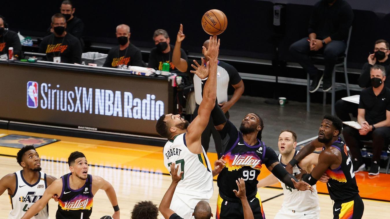 Le Saint-Quentinois Rudy Gobert, brillant mais battu avec le Utah Jazz dans le choc face aux Suns
