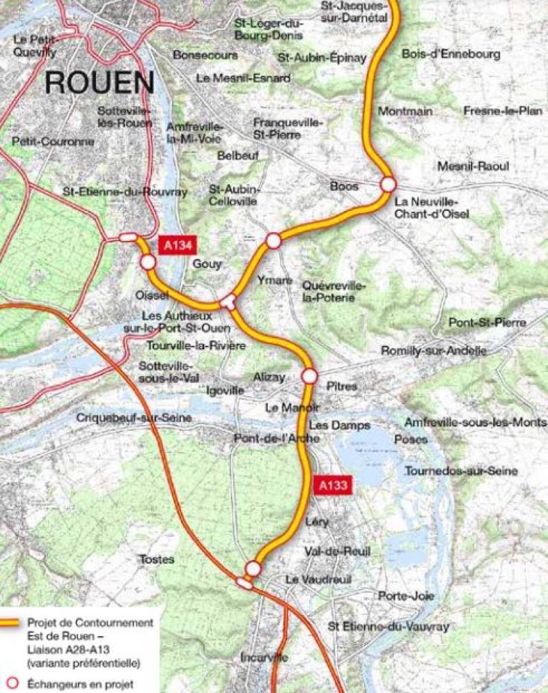 Le tracé du contournement. (Infographie Paris-Normandie)
