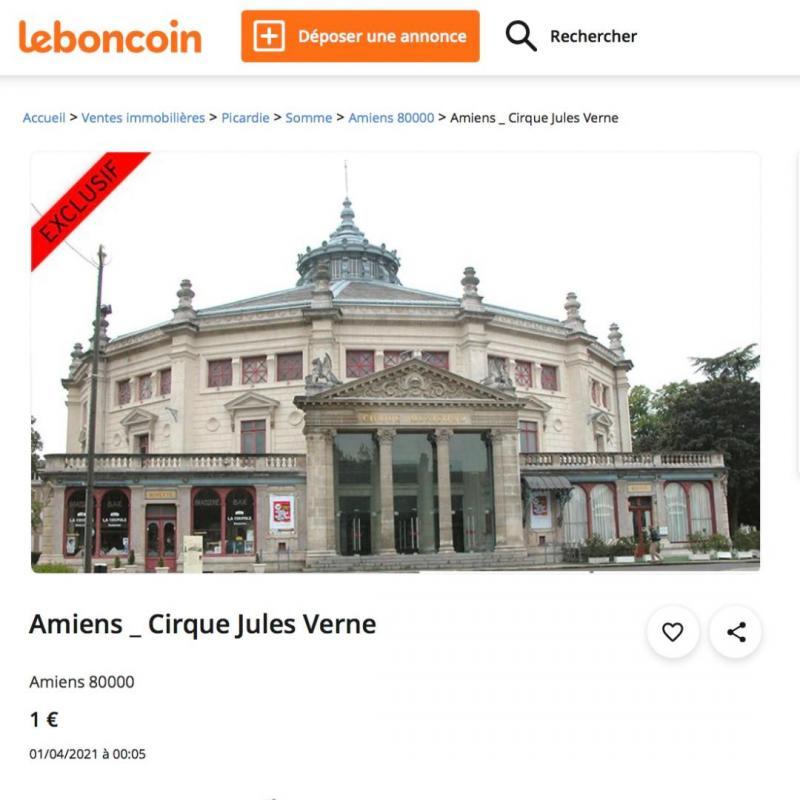 Dans la catégorie humour noir, la palme revient au CIP Picardie qui a publié une annonce pour la vente du cirque Jules-Verne.