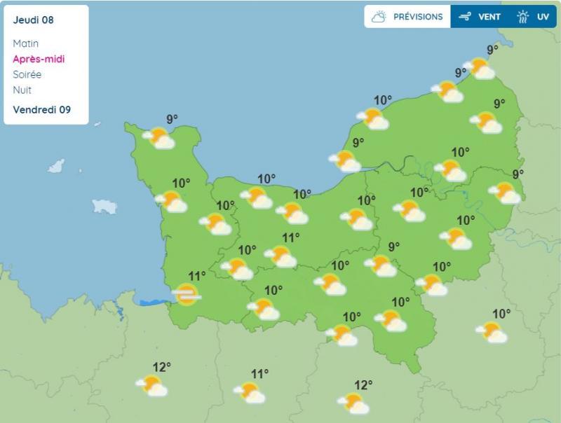 Voici les prévisions de Météo France en Normandie pour l'après-midi du jeudi 8 avril 2021.