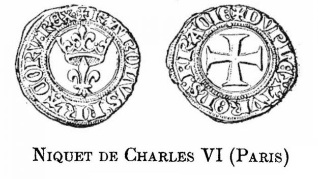 Représentation des deux faces d'un «niquet», époque Charles VI.