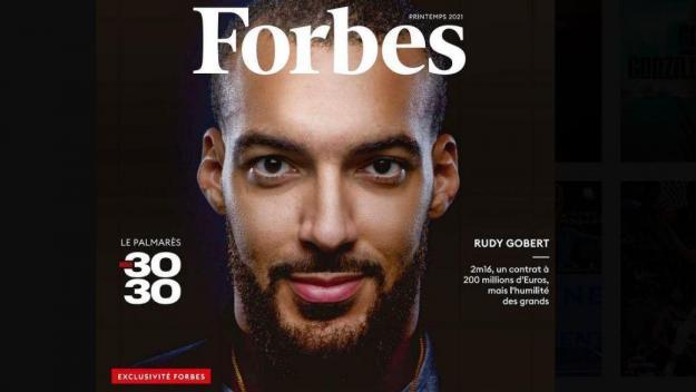 Rudy Gobert, star de la NBA, «grand» et «humble», est en Une du magazine Forbes