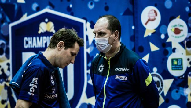 Stéphane Hucliez, l'entraîneur du SPO Rouen, n'a pu compter que sur Robert Gardos vendredi 9 avril face à Morez.