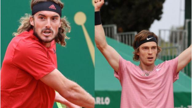 Tsitsipas (à gauche) et Rublev (à droite) sont en finale à Monte-Carlo.