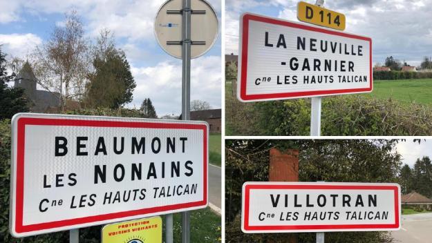 La commune des Hauts-Talican est née de la fusion entre Beaumont-les-Nonains, La Neuville-Garnier et Villotran, regroupant ainsi près de 1000habitants. Beaumont devrait retrouver bientôt son indépendance.